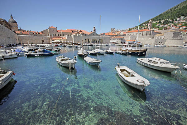 Motorboat Photograph - Croatia, Dubrovnik, Boats In Port by Karl Weatherly