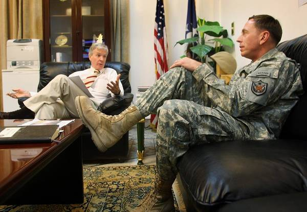 Baghdad Wall Art - Photograph - Crocker And Petraeus Prepare For Report by John Moore