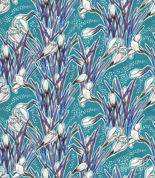 Mixed Media - Crocuses Pattern, Turquoise And White by Julia Khoroshikh