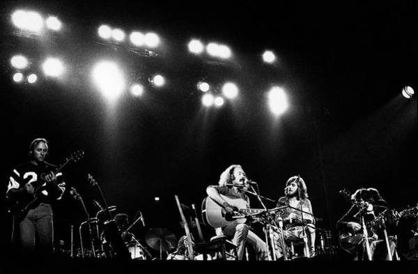 Neil Young Photograph - Crosby, Stills, Nash & Young On Stage by Steve Morley