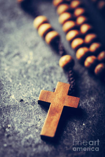 Photograph - Cross And Rosary On Stone Background. by Michal Bednarek