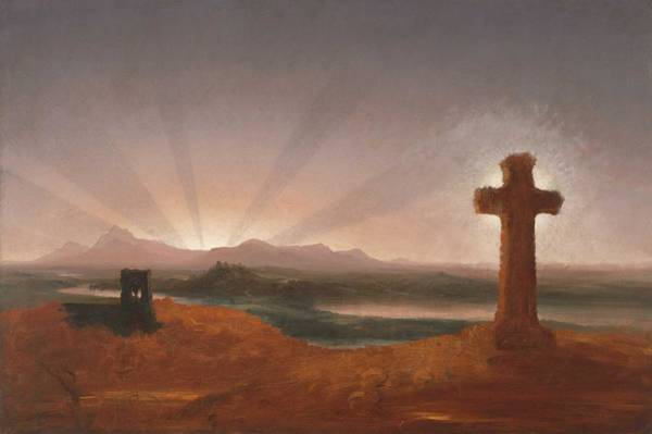 Wall Art - Painting - Cross At Sunset Thomas Cole by Thomas Cole