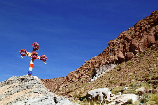 Photograph - Cross In The Puritama Canyon Chile by James Brunker