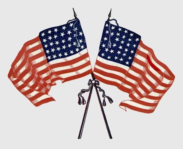 Wall Art - Photograph - Crossed Civil War Union Flags 1861 - T-shirt by Daniel Hagerman