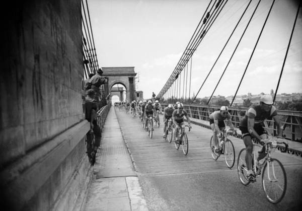 Rhone River Photograph - Crossing A Bridge During The 1956 Tour by Keystone-france
