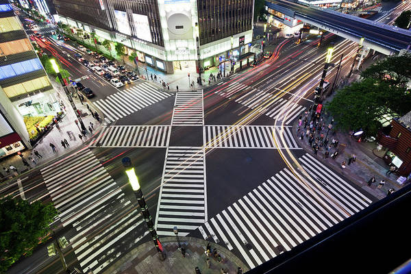 Ginza Wall Art - Photograph - Crossing In Ginza by Tom Bonaventure