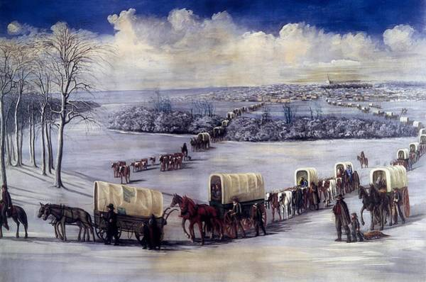 Wall Art - Painting - Crossing The Mississippi On The Ice by C C A Christensen