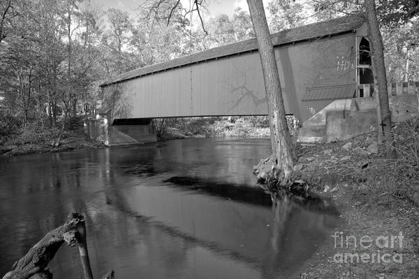 Photograph - Crossing The Ny Battenkill River Black And White by Adam Jewell