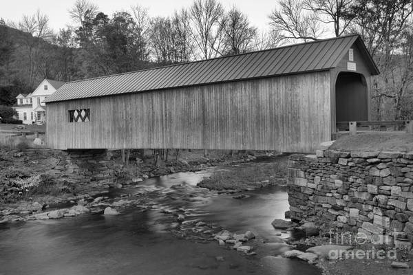 Photograph - Crossing The Vermont Green River Black And White by Adam Jewell