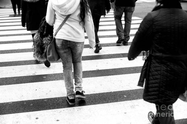 Photograph - Crossings In A Hoodie New York City by John Rizzuto