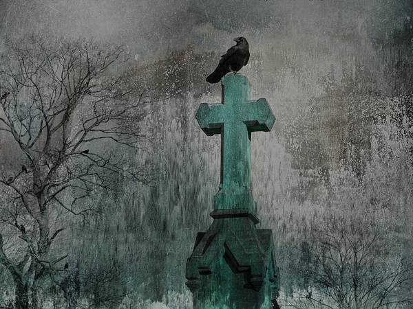 Wall Art - Photograph - Crow On A Patina Cross by Gothicrow Images