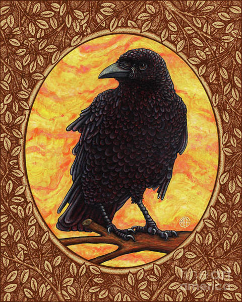 Painting - Crow Portrait - Brown Border by Amy E Fraser