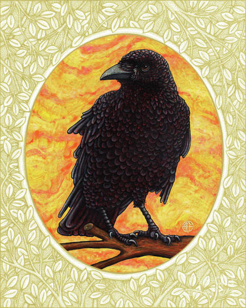 Painting - Crow Portrait - Cream Border by Amy E Fraser