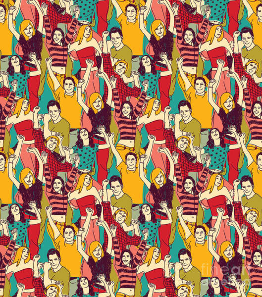 Wall Art - Digital Art - Crowd Active Happy People Seamless by Chief Crow Daria