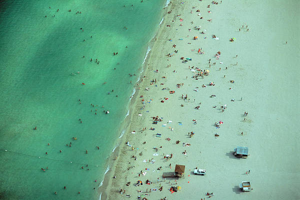 Crowd Photograph - Crowd Along Shoreline Of Miami Beach by Cameron Davidson