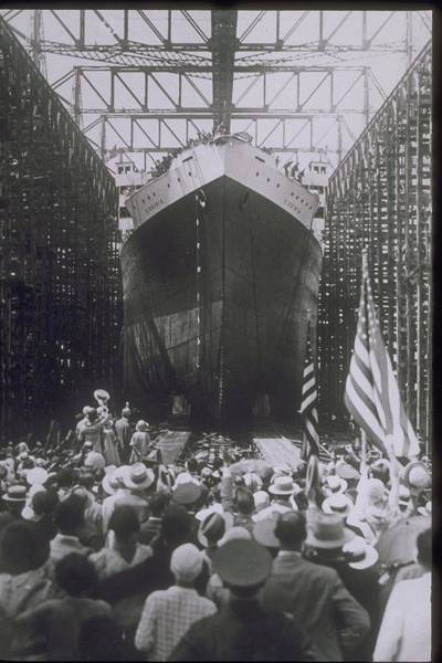 Dry Dock Photograph - Crowd At Dry Dock Launches Ship, Circa by Archive Holdings Inc.