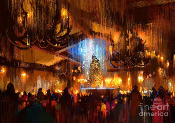 Wall Art - Digital Art - Crowd Of People Praying At Holy by Tithi Luadthong