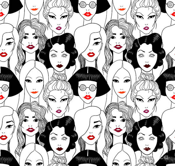 Stylish Wall Art - Digital Art - Crowd Of Women With Red Lips Seamless by Fears