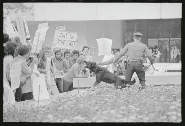 Crowd Protesting President Nixon Art Print