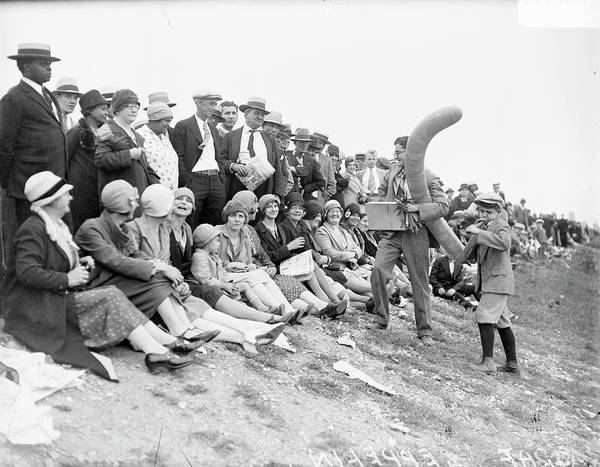 Graf Photograph - Crowd Watching The Graf Zeppelin In by Chicago History Museum