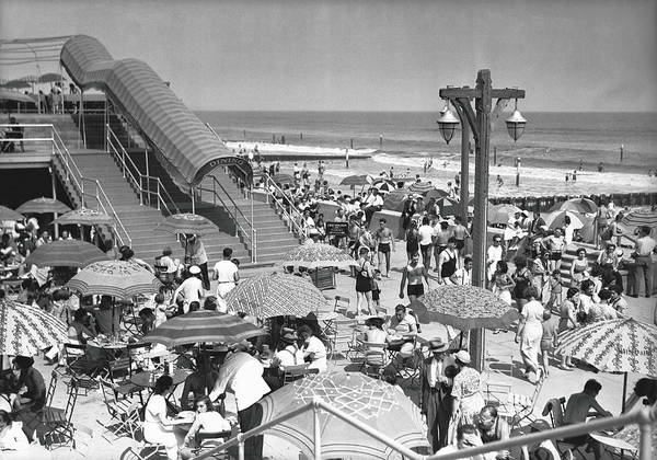 Covering Photograph - Crowded Beach, B&w, Elevated View by George Marks