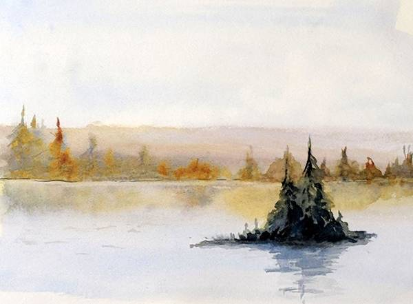 Adirondack Mountains Painting - Crowded Island by Skip Van Lenten