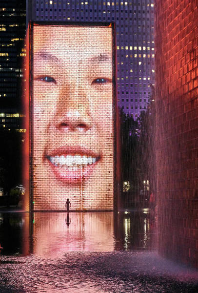 Photograph - Crown Fountain In Millennium Park, Chicago by Jim Hughes
