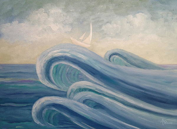 Painting - Crowning The Waves by Angeles M Pomata