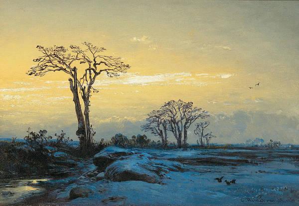 Painting - Crows In An Open Winter Landscape by Eduard Hildebrandt