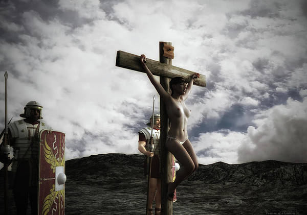 Wall Art - Digital Art - Crucifixion Scene At Sunset by Ramon Martinez