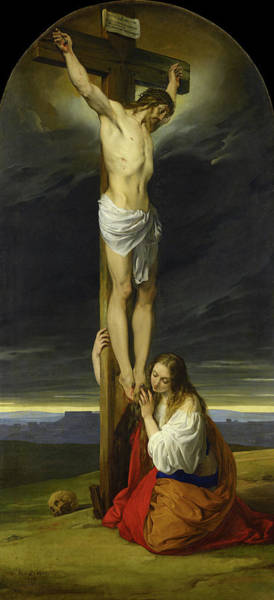 Wall Art - Painting - Crucifixion With Mary Magdalene Kneeling And Weeping, 1827 by Francesco Hayez