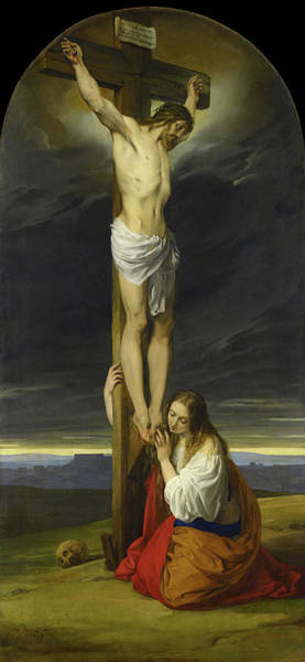 Mercy Wall Art - Painting - Crucifixion With Mary Magdalene Kneeling And Weeping by Francesco Hayez