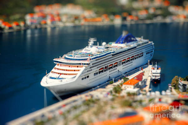 Wall Art - Photograph - Cruise Liner In Kotor Bay Near The Old by Rosshelen