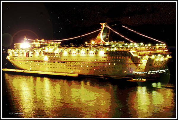 Digital Art - Cruise Ship At Night by A Gurmankin