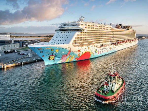 Wall Art - Photograph - Cruise Ship In Copenhagen Harbour by Colin and Linda McKie