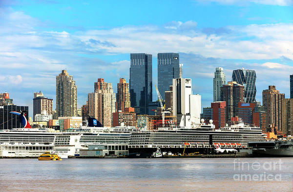 Photograph - Cruise Ships Docked In New York Harbor by John Rizzuto