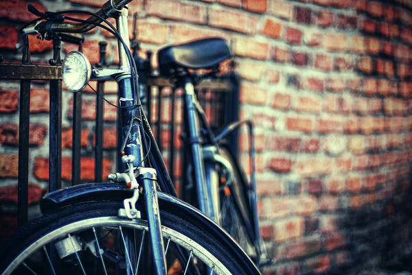 Handle Photograph - Cruiser Leaning Against Brick Wall by Erik T Witsoe