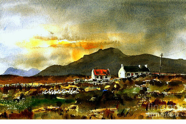Wall Art - Painting - Crumpawn Sunset, Achill by Val Byrne