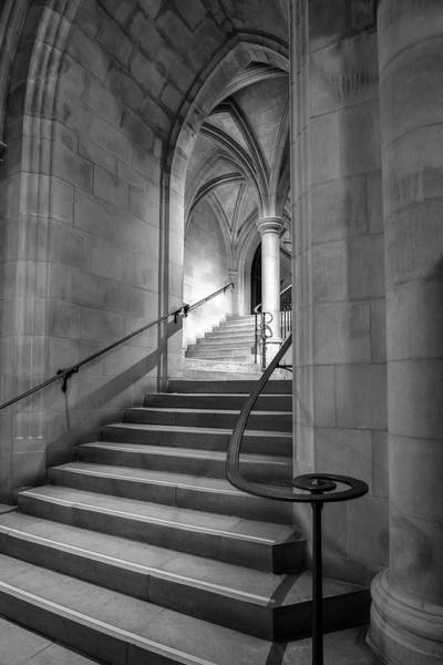 Photograph - Crypt Stairs Black And White by Harriet Feagin