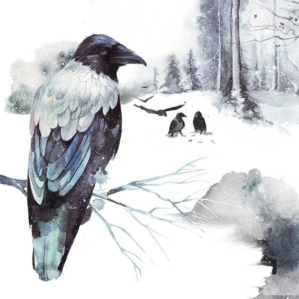 Wall Art - Painting - Cryptical Crows In The Whispering Winter Woods by Little Bunny Sunshine