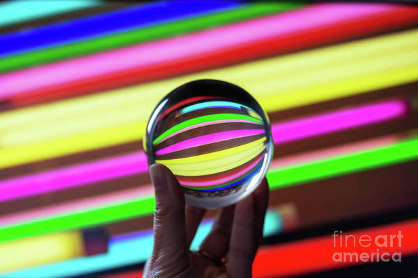 Wall Art - Photograph - Crystal Ball And Neons by Delphimages Photo Creations