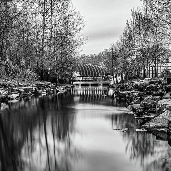 Photograph - Crystal Bridges Museum River Trail - Monochrome 1x1  by Gregory Ballos