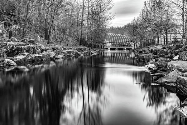 Photograph - Crystal Bridges River View In Black And White - Bentonville Arkansas by Gregory Ballos
