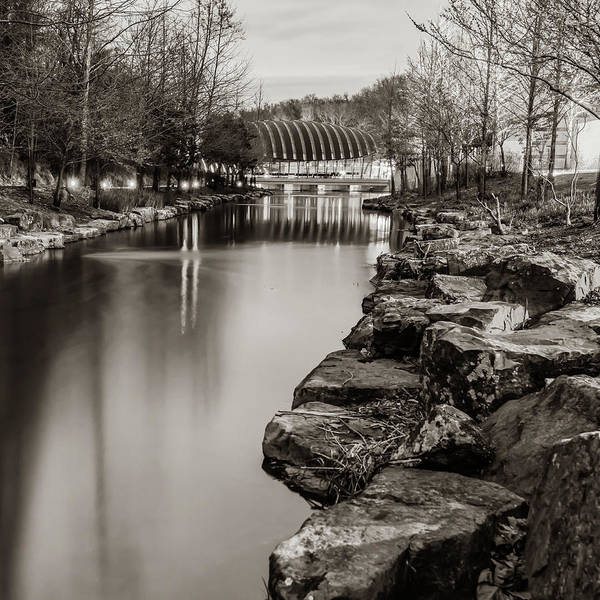 Photograph - Crystal Bridges Sepia Night At The Museum - Arkansas by Gregory Ballos