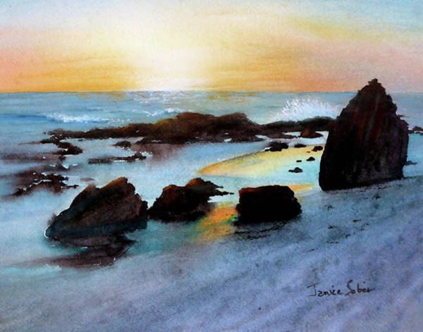 Wall Art - Painting - Crystal Cove In Blue And Gold by Janice Sobien