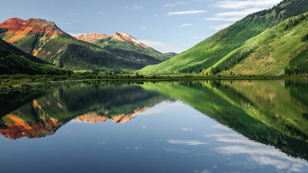 Crystal Lake Red Mountain Reflection Art Print