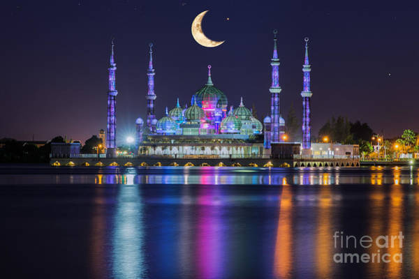 Wall Art - Photograph - Crystal Mosque With Moon And Star In by Anek.soowannaphoom