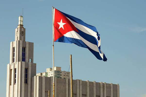 Wall Art - Photograph - Cuba, Havana Cuban Flag Blowing by Jaynes Gallery