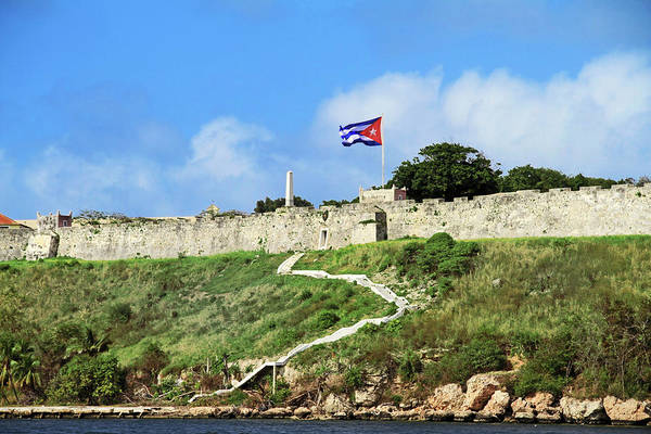 Wall Art - Photograph - Cuba, Havana Fortress Wall And Cuban by Miva Stock