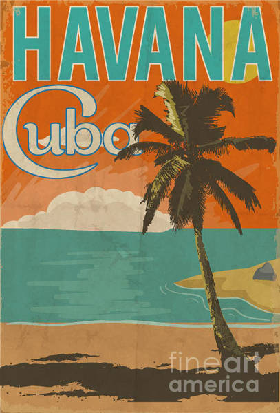 50s Wall Art - Digital Art - Cuba Havana Poster Illustration by Yusuf Doganay
